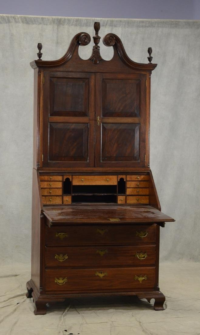 Walnut Chippendale slant front desk, later bookcase top - 3