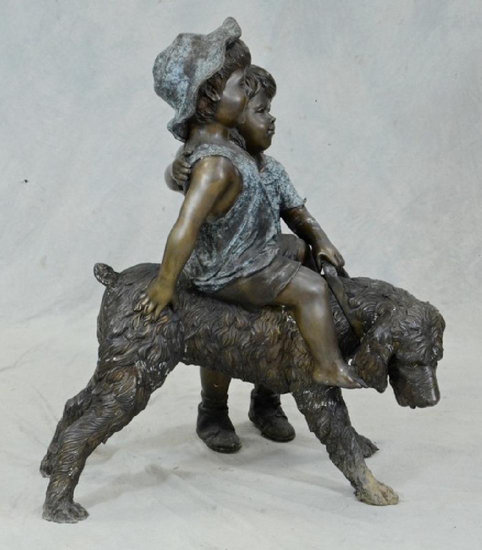 Bronze sculpture, two children with dog - 2
