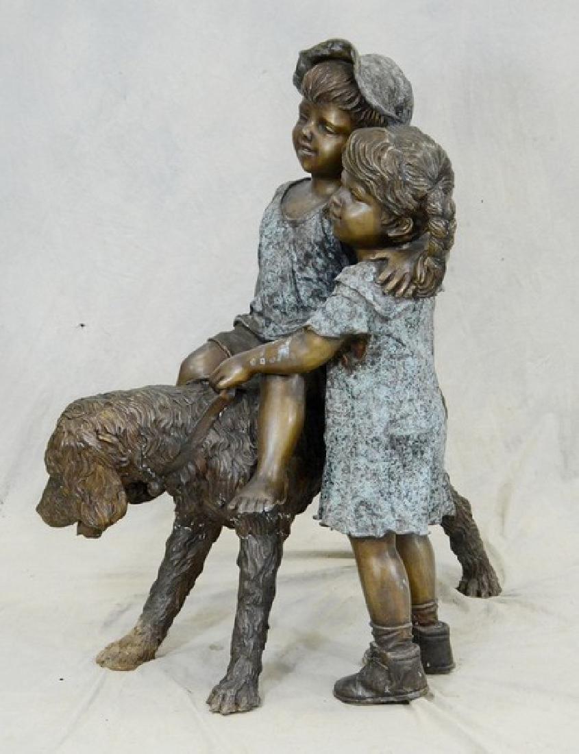 Bronze sculpture, two children with dog - 3