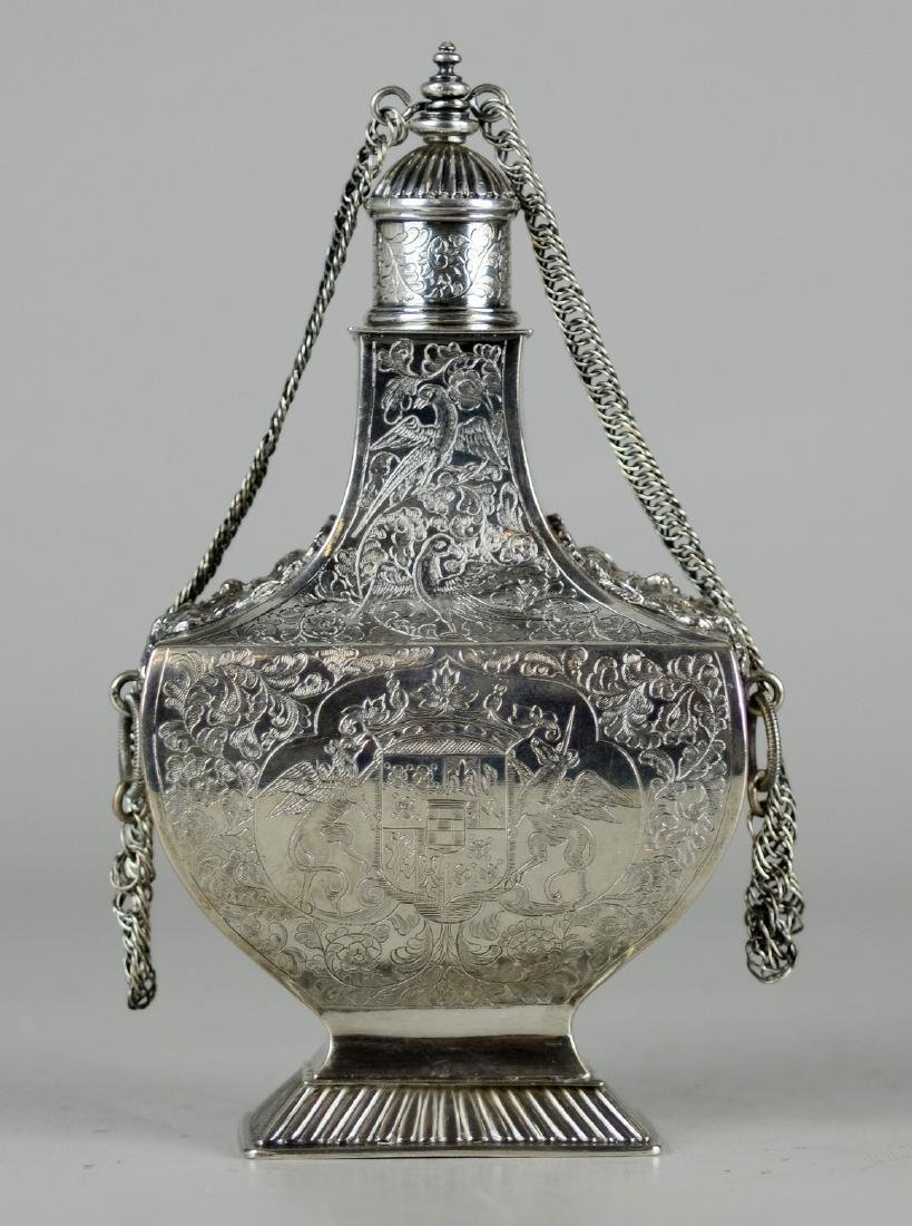 Engraved Continental Silver Tea Caddy