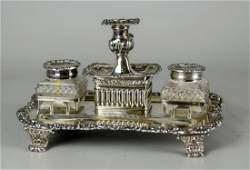 Sheffield silver plate ink stand