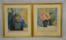 Everett Lloyd Bryant pair of still life watercolors