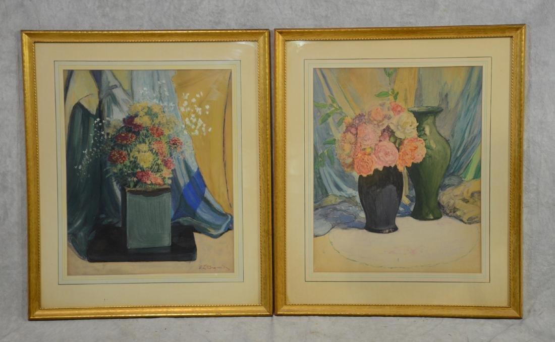 Everett Lloyd Bryant, pair of still life watercolors