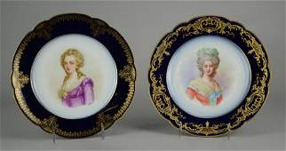 (2) Sevres Porcelain Portrait Plates