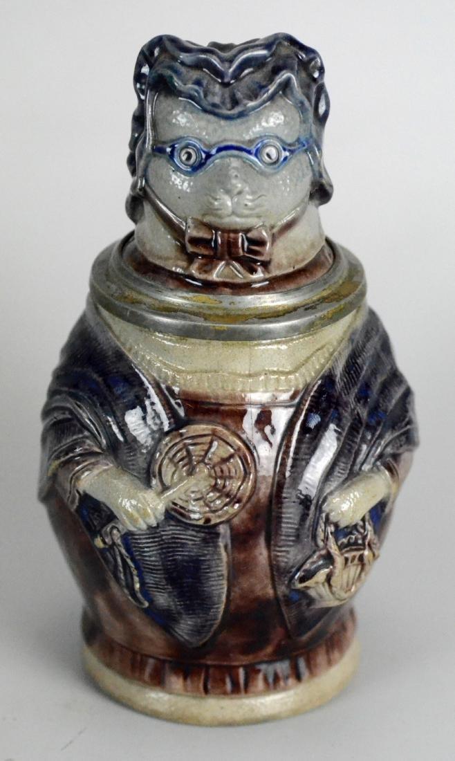 (2) 0.5L aviator dog & owl stoneware character steins - 3