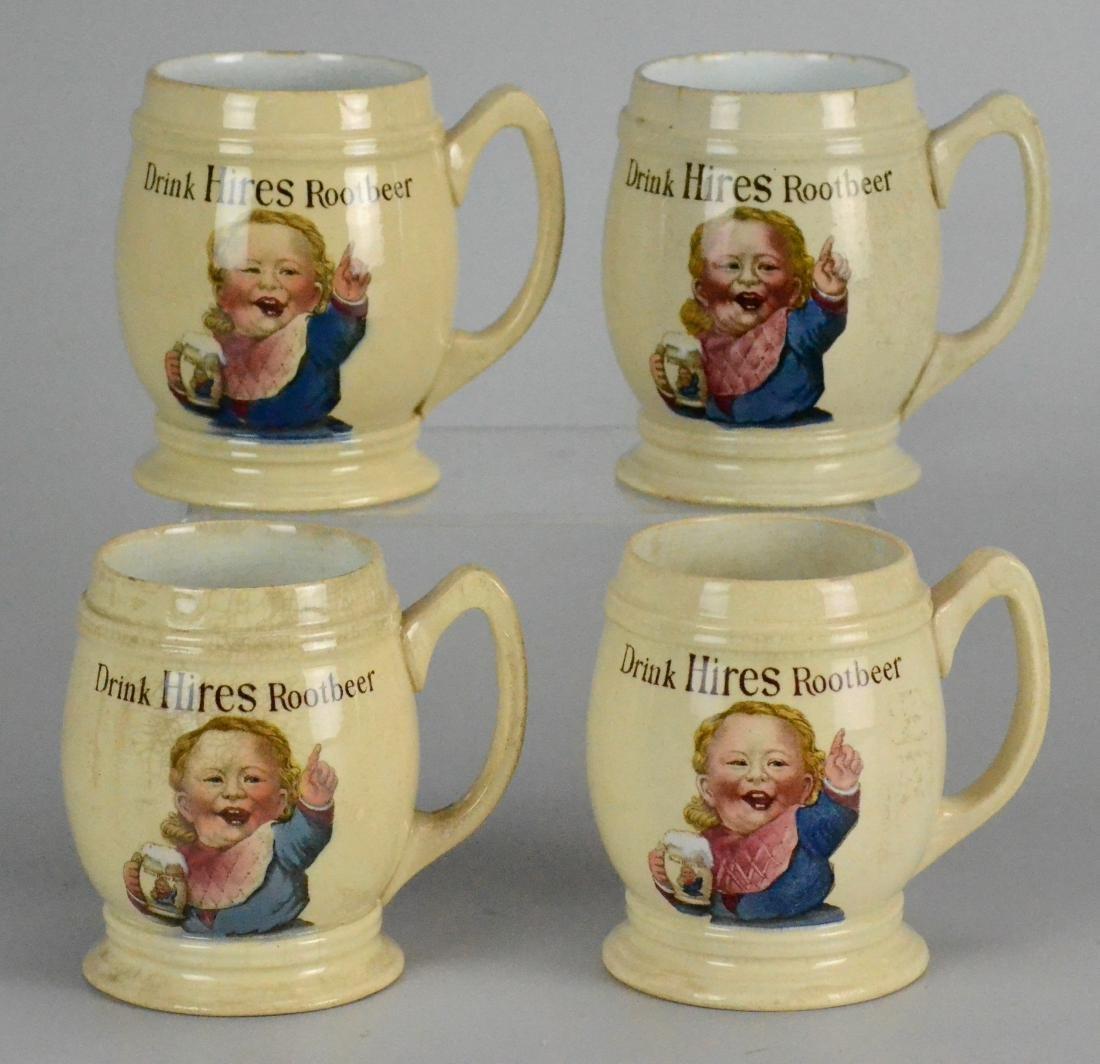 (4) Mettlach 3095 Hires Root Beer Pottery Mugs