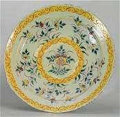 Yellow, green, and iron red Spanish faience charger