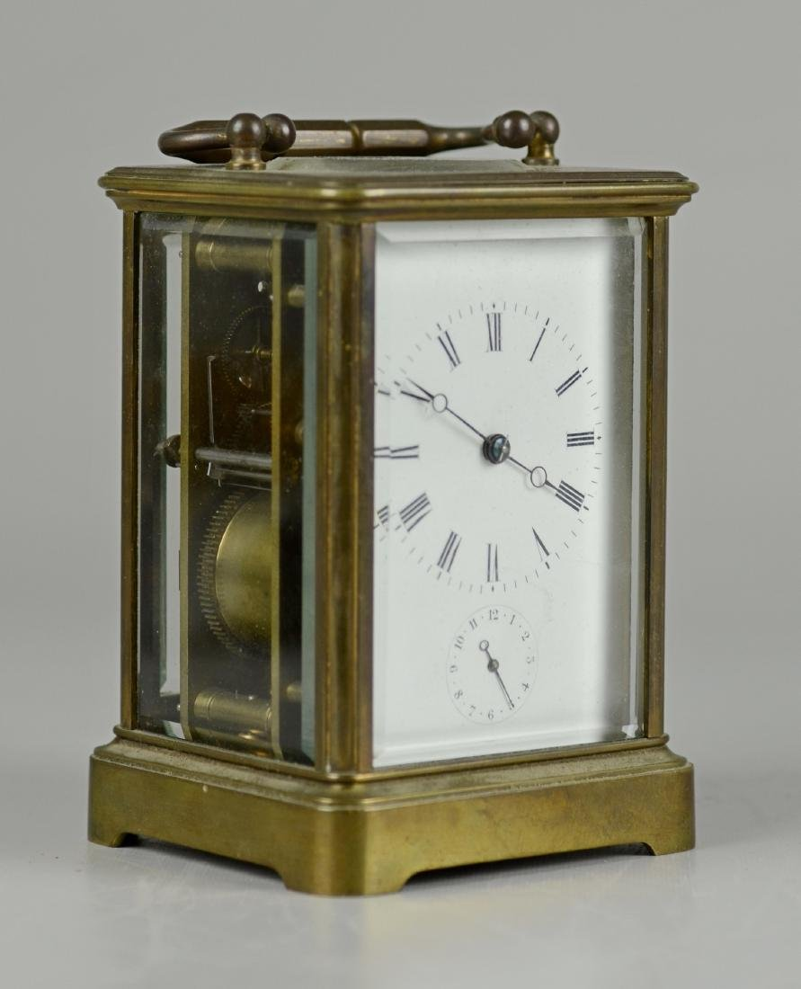 French brass carriage clock with alarm