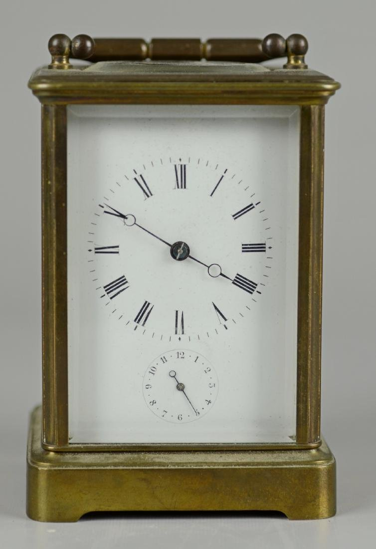 French brass carriage clock with alarm - 2