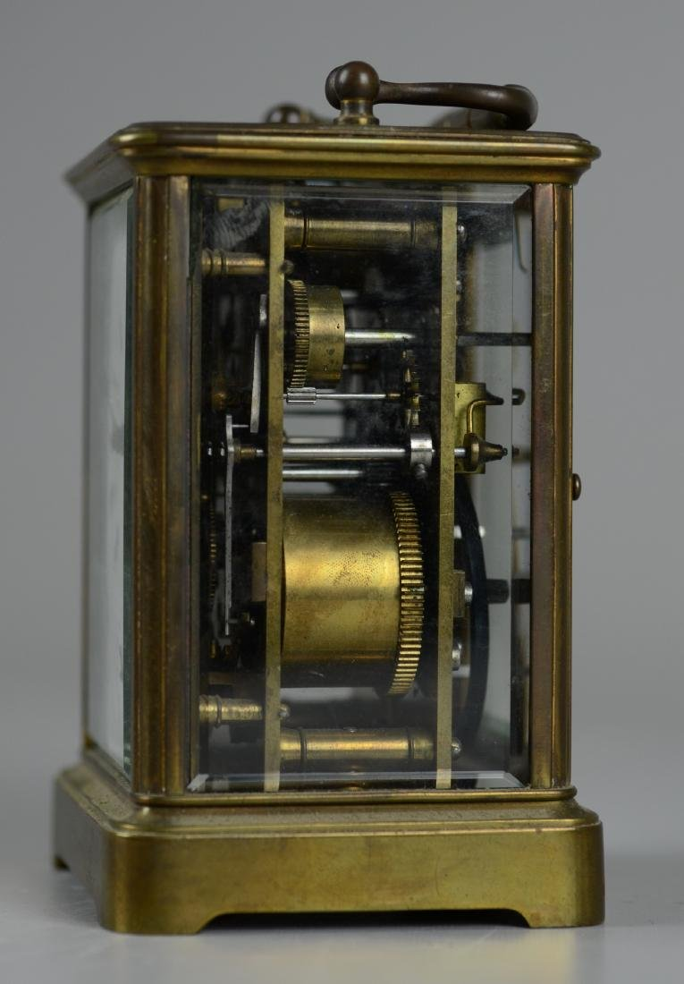 French brass carriage clock with alarm - 4