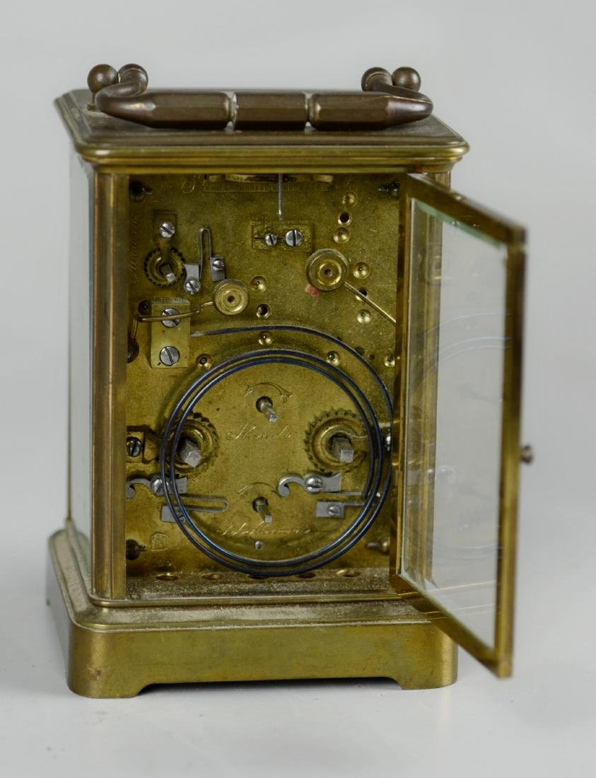 French brass carriage clock with alarm - 5