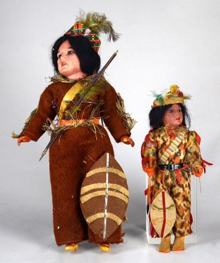 (2) German Bisque Head Native American Dolls