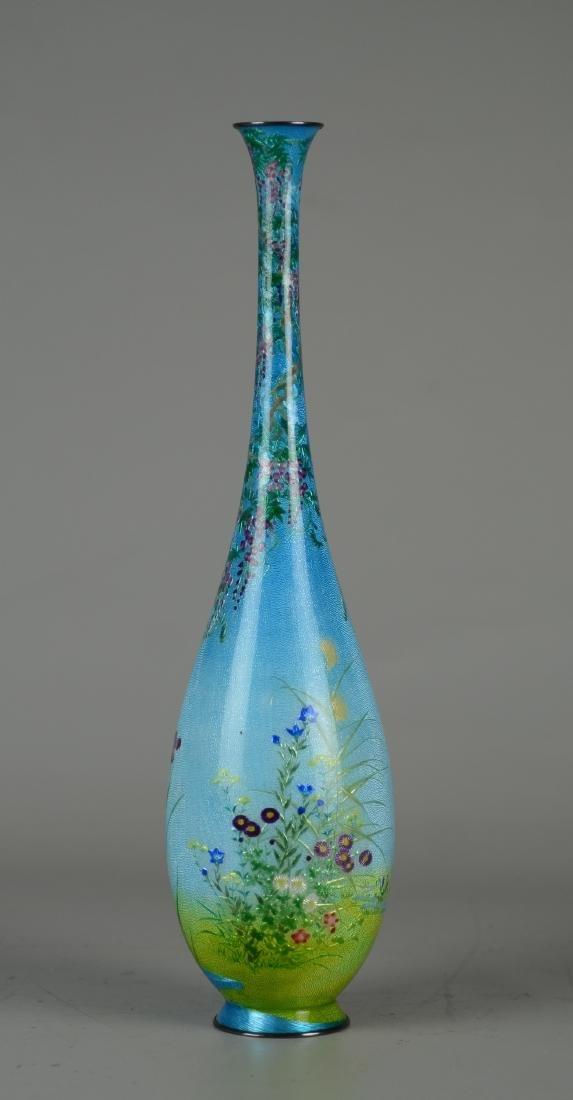Ginbari Japanese enameled vase