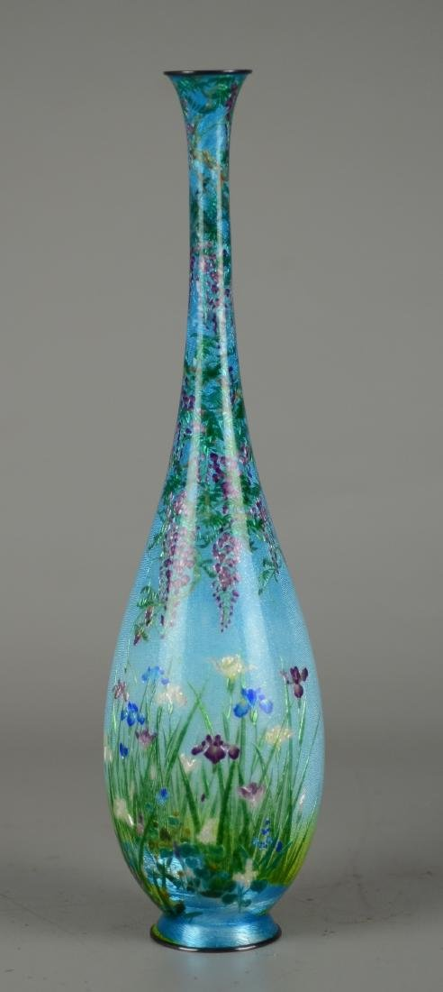 Ginbari Japanese enameled vase - 4