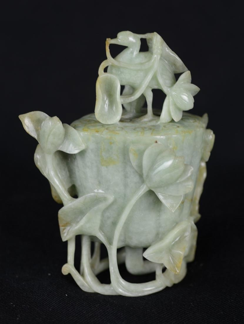 Chinese carved jade urn