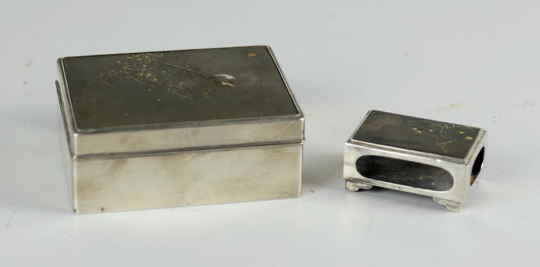 (2) Pcs Japanese Silver Cigarette Box & Match Holder