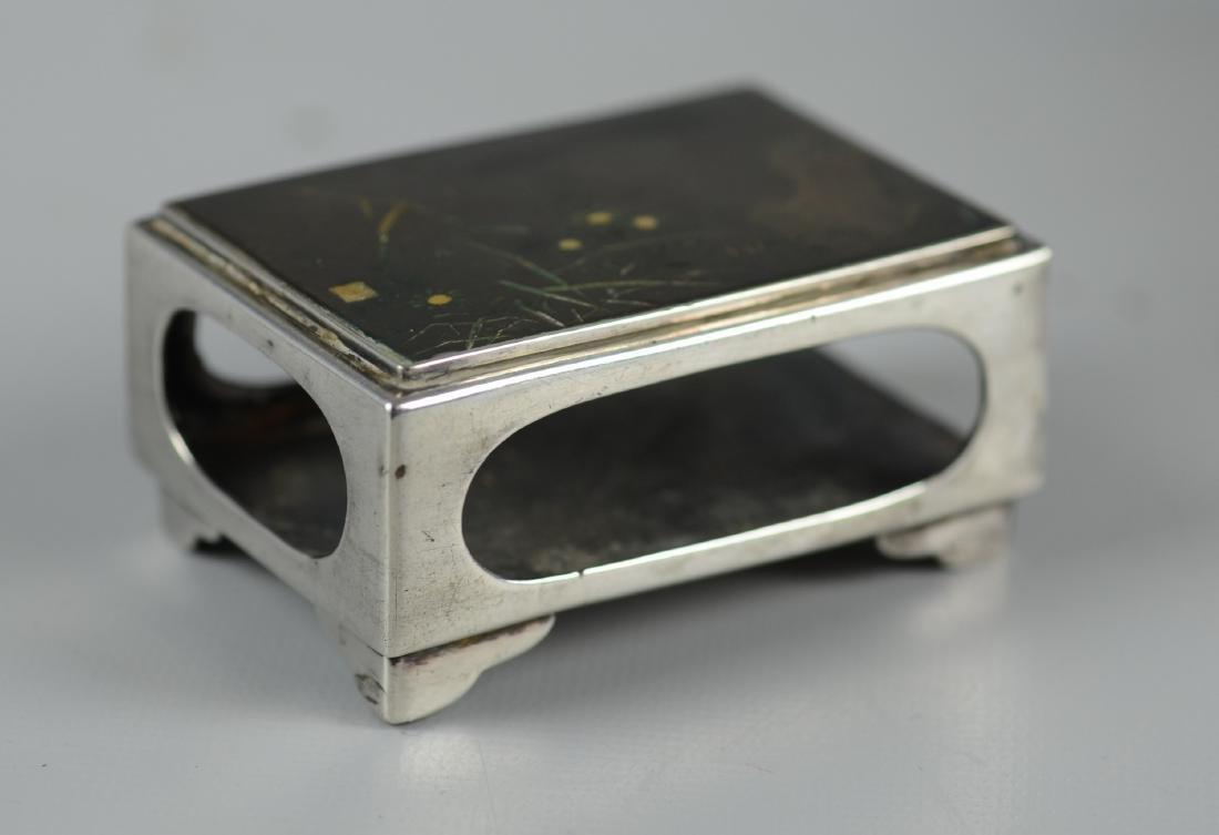 (2) Pcs Japanese Silver Cigarette Box & Match Holder - 4