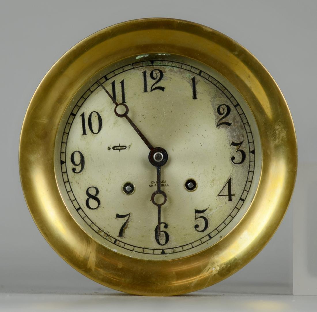 """Chelsea brass 5"""" ships clock, ships bell strik"""