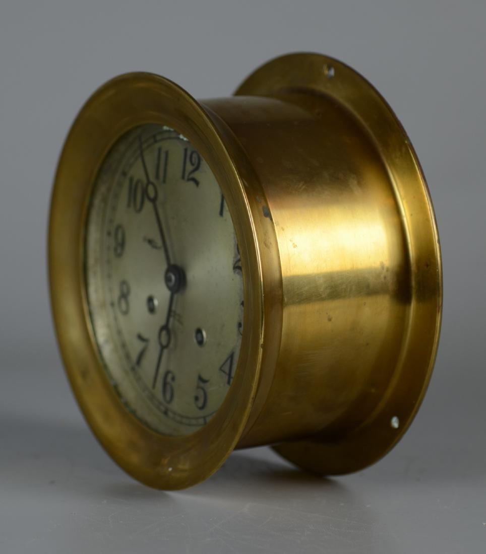 """Chelsea brass 5"""" ships clock, ships bell strik - 3"""