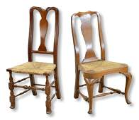 2  Walnut Queen Anne Style Side Chairs