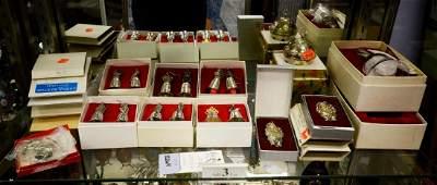 Shelf #3 - Silver Plated Christmas Ornaments