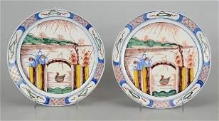 Pr Delft Style Polychrome Tin Glazed Faience Plates