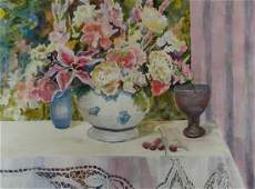Helen Brown Floral Still Life Watercolor