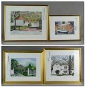 (4) Watercolor Paintings