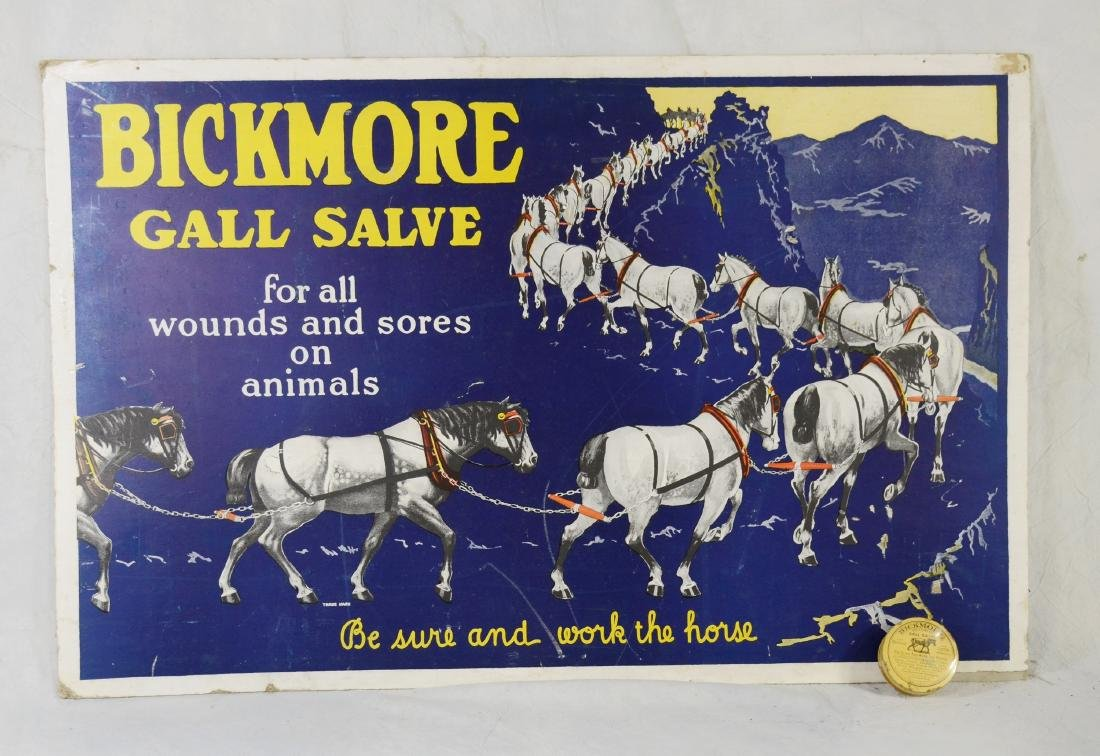 Early Veterinary Bickmore's Gall Salve Sign w/ Original