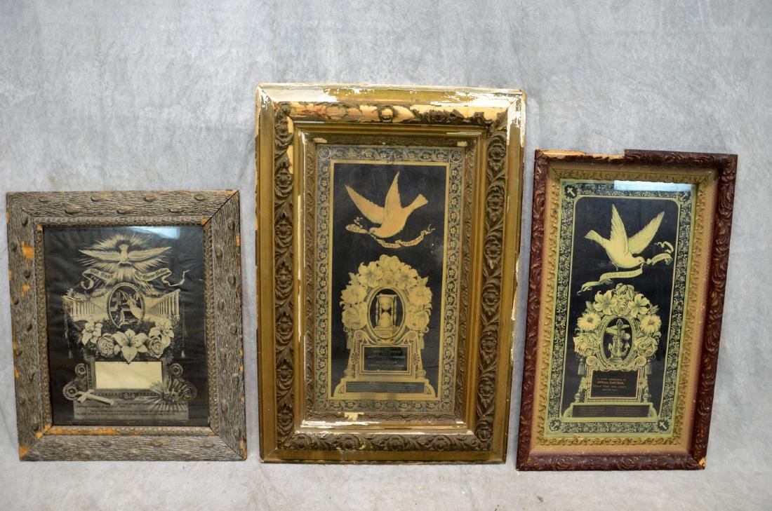 (3) Framed Victorian Litho Mourning Remembrances,