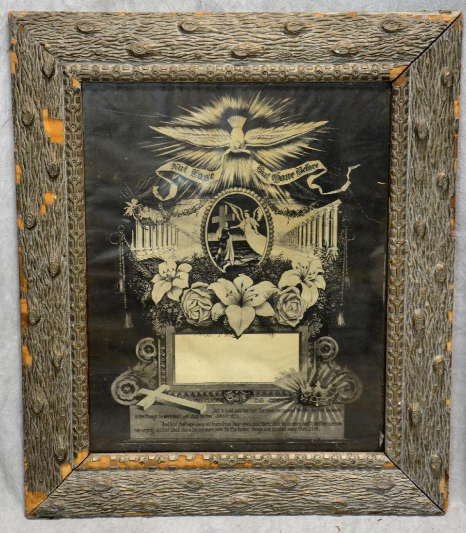 (3) Framed Victorian Litho Mourning Remembrances, - 2