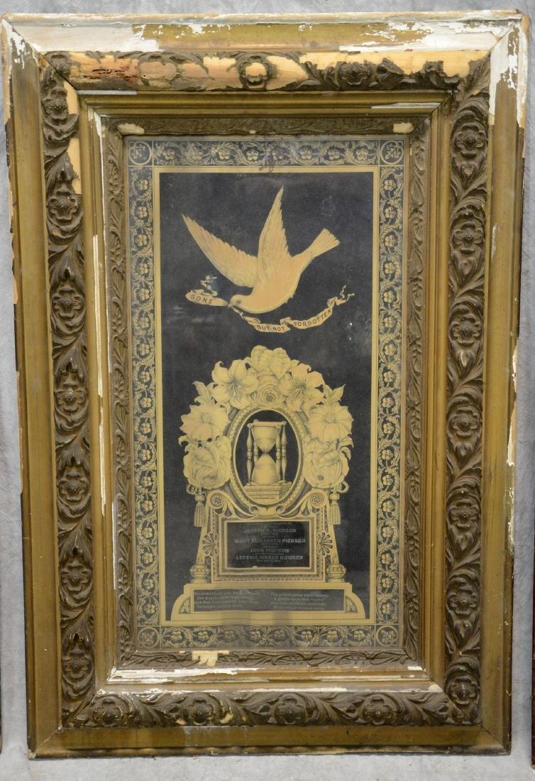 (3) Framed Victorian Litho Mourning Remembrances, - 3