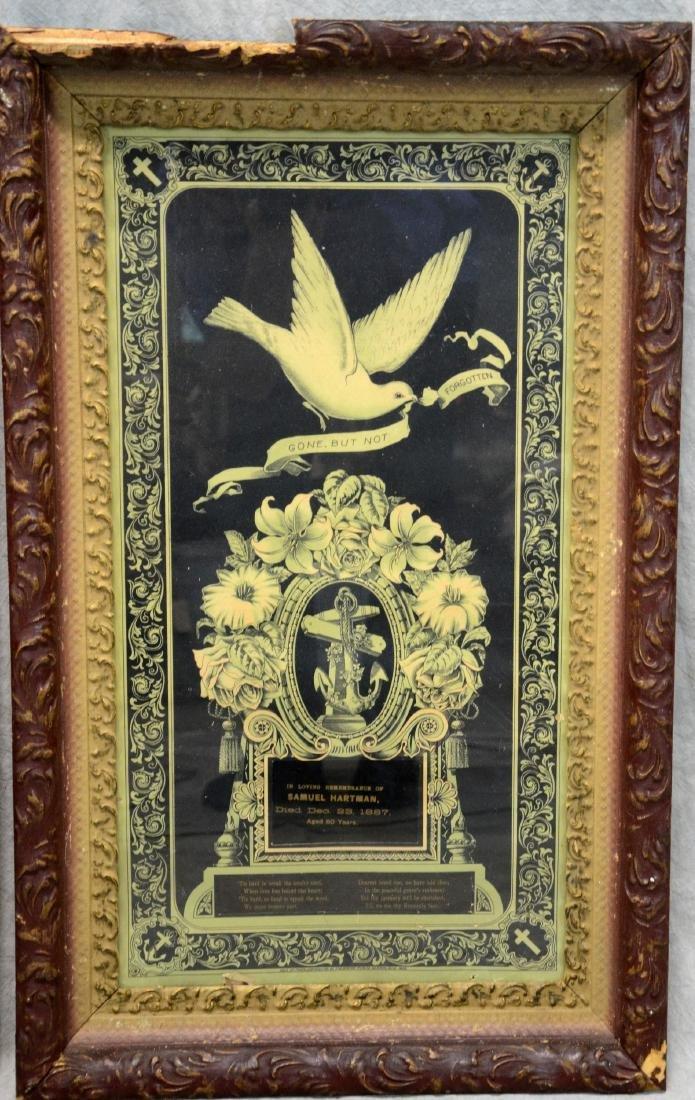 (3) Framed Victorian Litho Mourning Remembrances, - 4