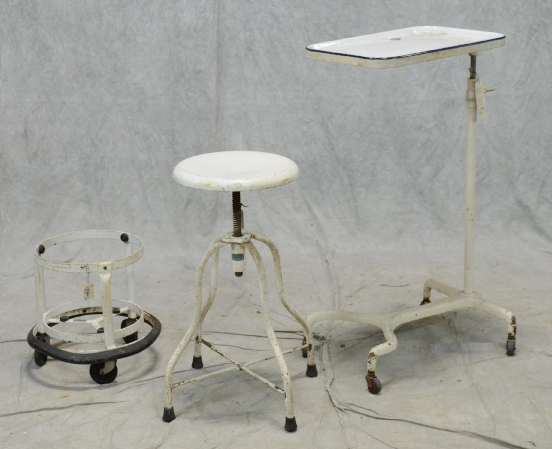 Antique Medical Examiner Lab Furniture Set  3pcs  White