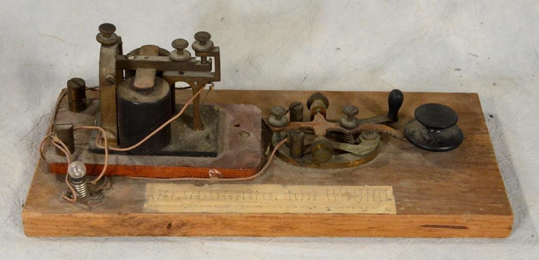 Early Mounted Telegraph Key & Base  c1910; Antique - 3