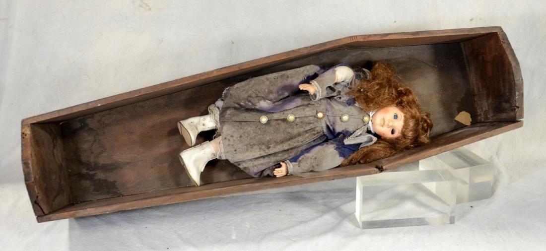 Victorian Child's Wooden Coffin w/ Lid  European Toe - 2