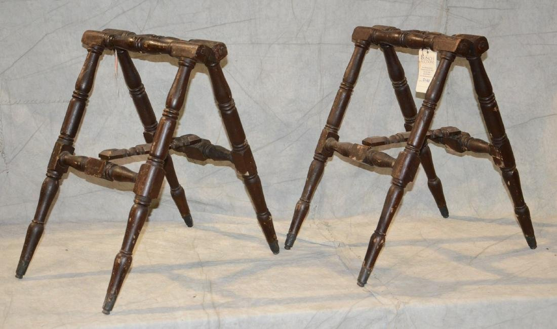 Victorian Turned Wood Casket Coffin Stand Set  c1890; - 2
