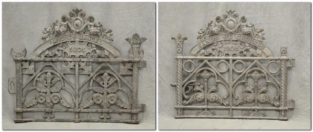 (2) Heavy Cast Iron Cemetery Gates w Cherubs c1894,