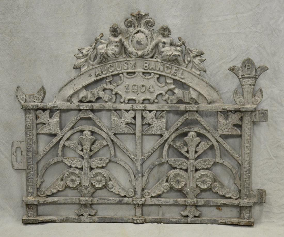 (2) Heavy Cast Iron Cemetery Gates w Cherubs c1894, - 2