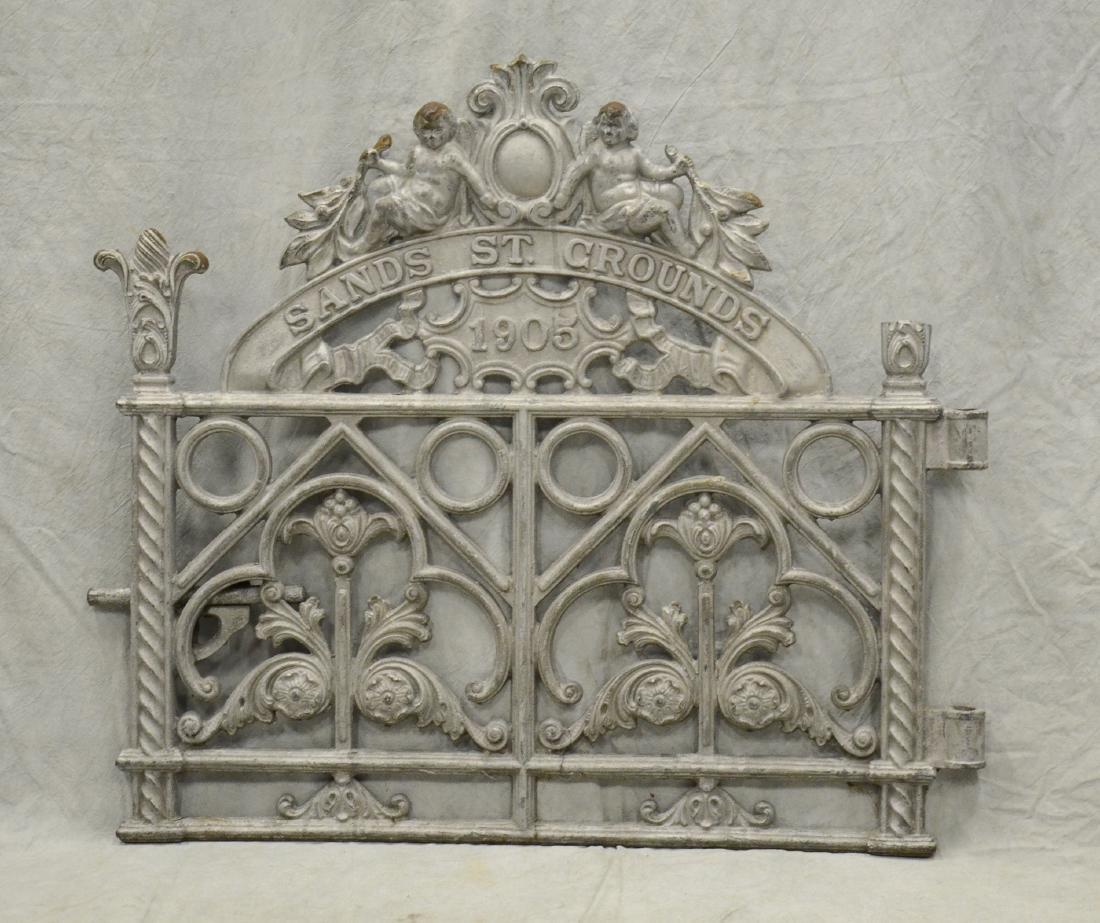 (2) Heavy Cast Iron Cemetery Gates w Cherubs c1894, - 3