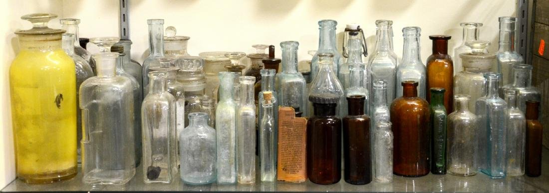 53 Apothecary Drugstore Medicinal Bottles:  Many with