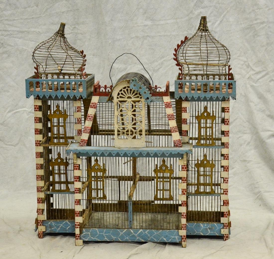 Antique Bavarian Candystripe Bird Cage c1920  Large