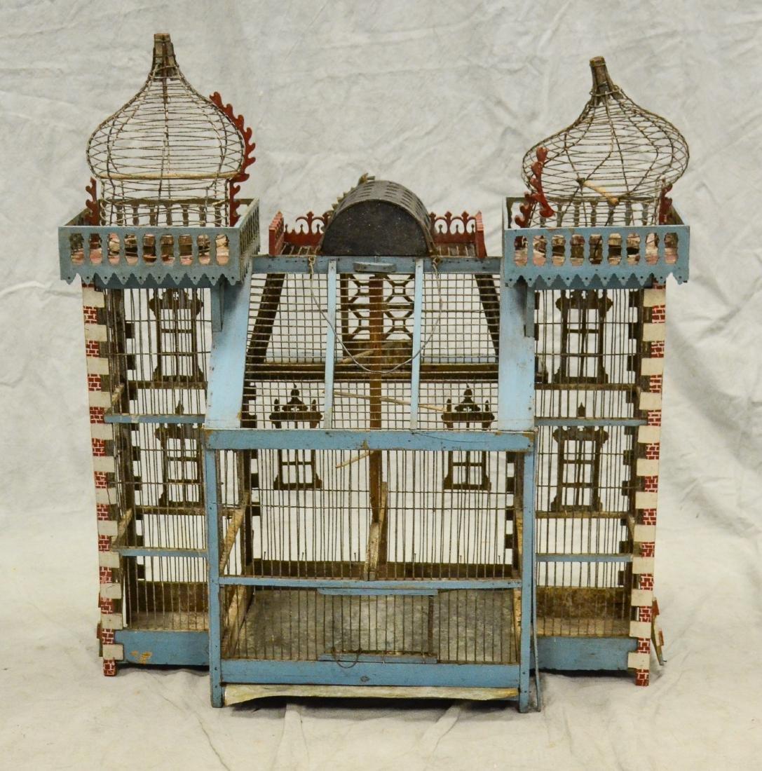 Antique Bavarian Candystripe Bird Cage c1920  Large - 3
