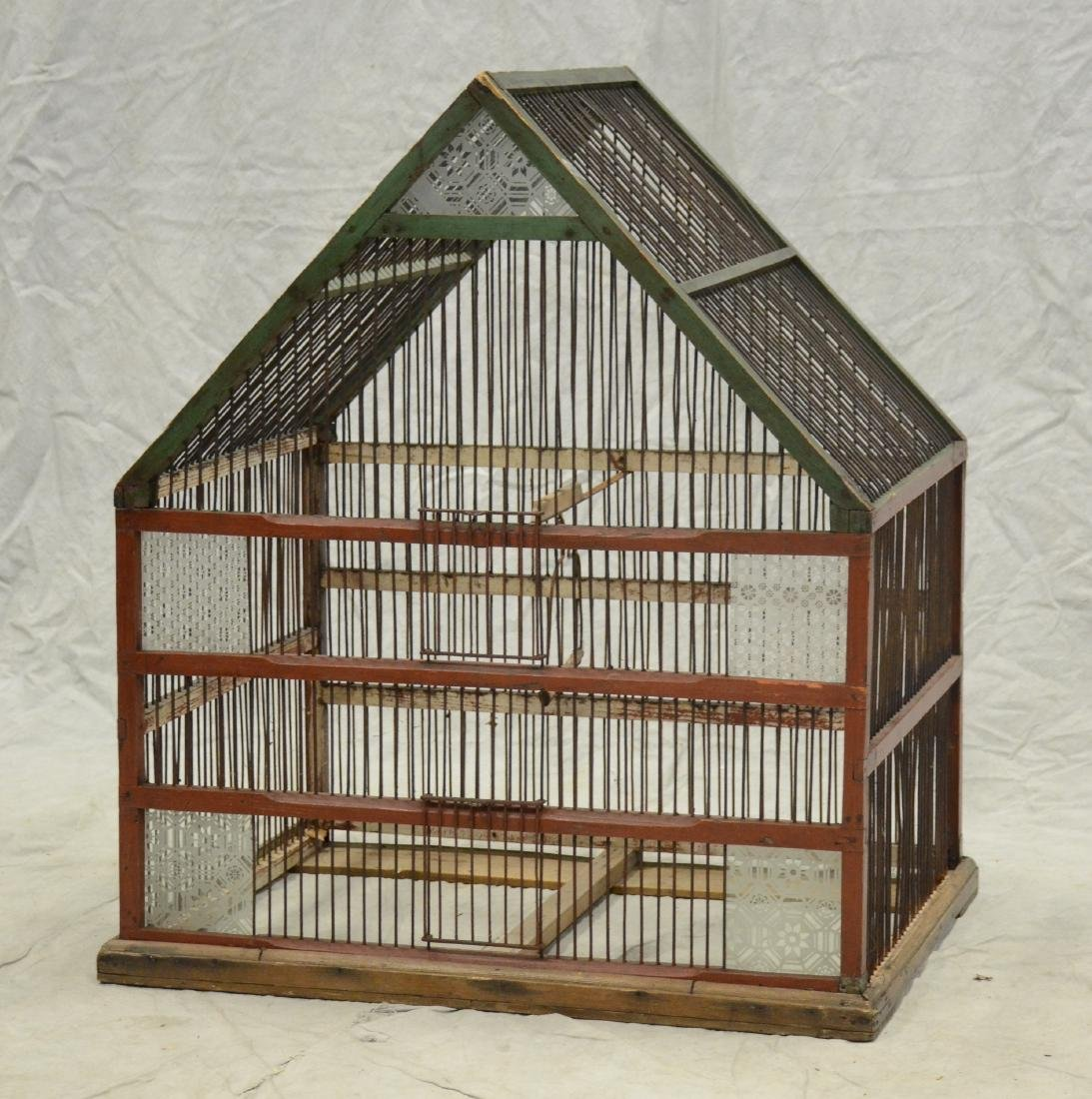 Giant Finch Flight Cage c1900  Carved glass decoration
