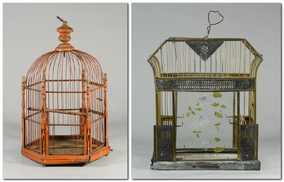 Rare Art Bird Cage w/ Turned Brass  c1910  Solid, heavy
