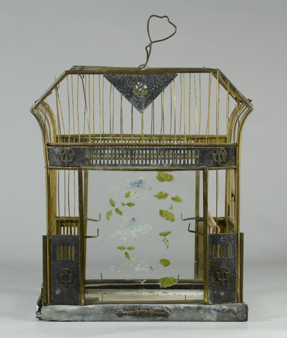 Rare Art Bird Cage w/ Turned Brass  c1910  Solid, heavy - 3
