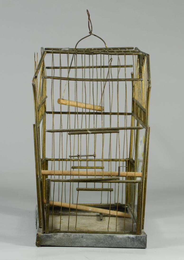 Rare Art Bird Cage w/ Turned Brass  c1910  Solid, heavy - 4