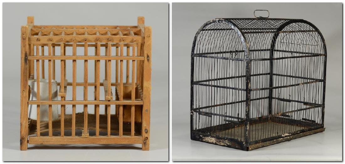(4) bird cages: Hand Made Canary Coal Mine Cage w/ - 2