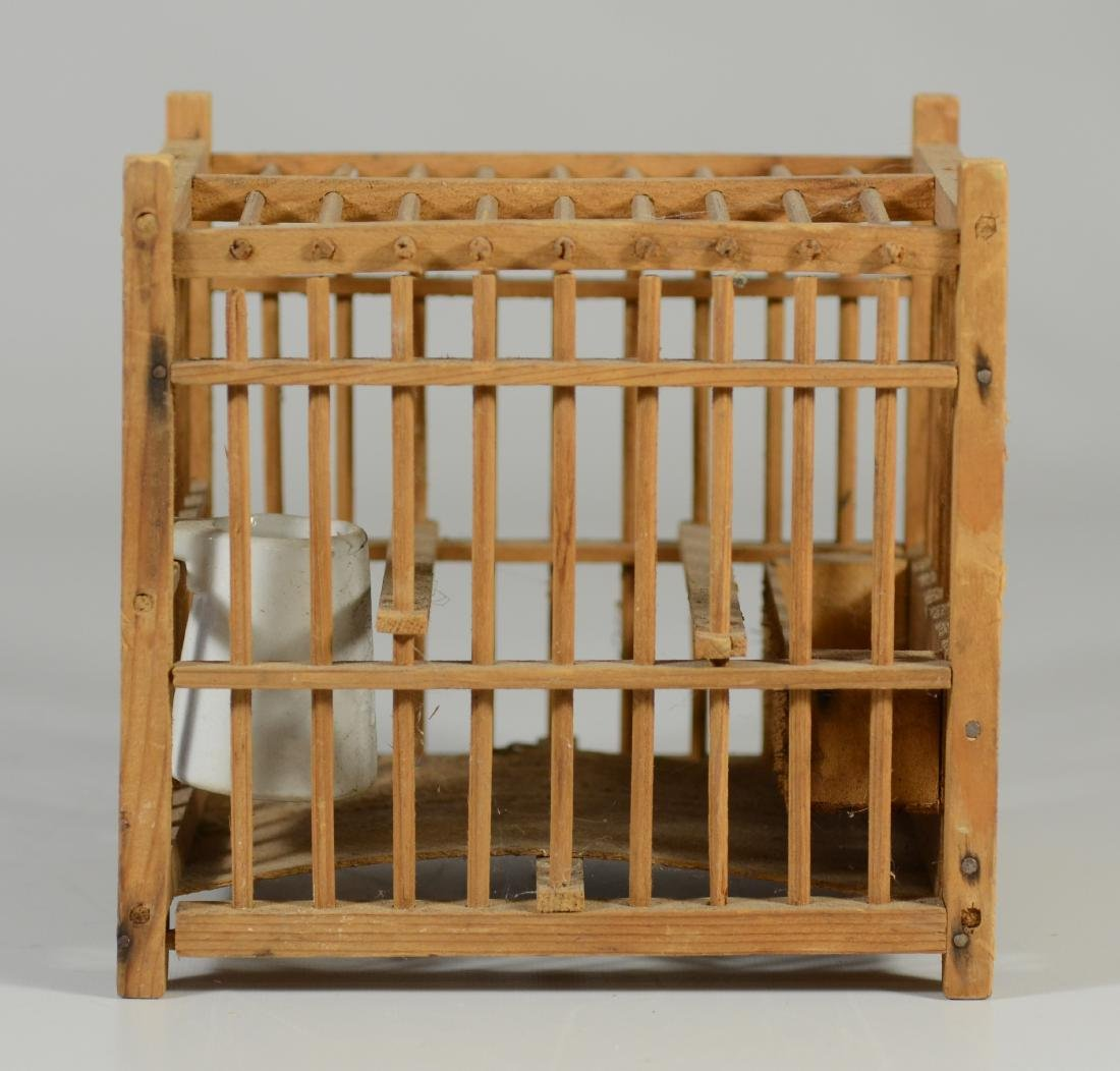 (4) bird cages: Hand Made Canary Coal Mine Cage w/ - 3