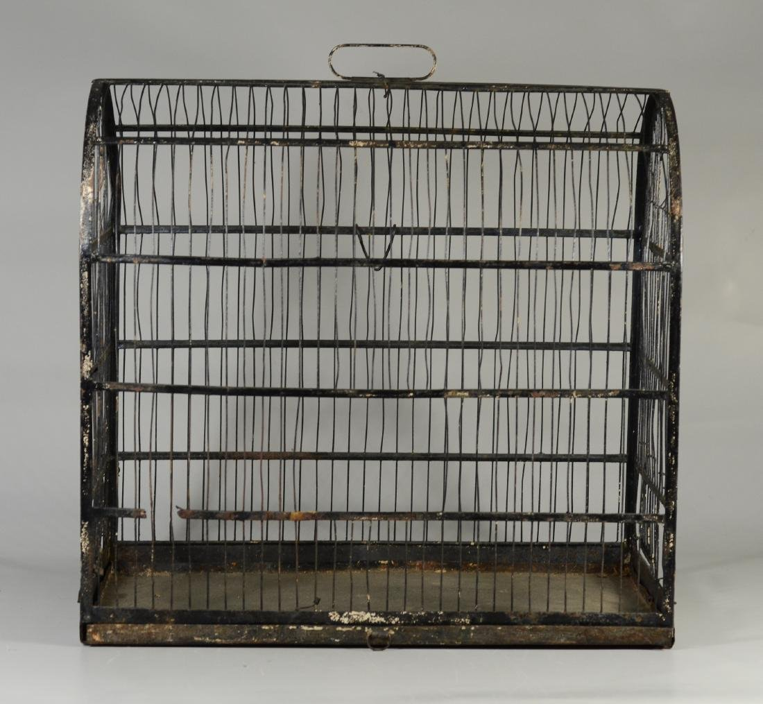 (4) bird cages: Hand Made Canary Coal Mine Cage w/ - 7
